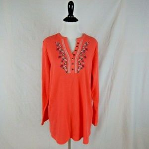 Woman Within Peach Embroidered Thermal Sz 14 / 16